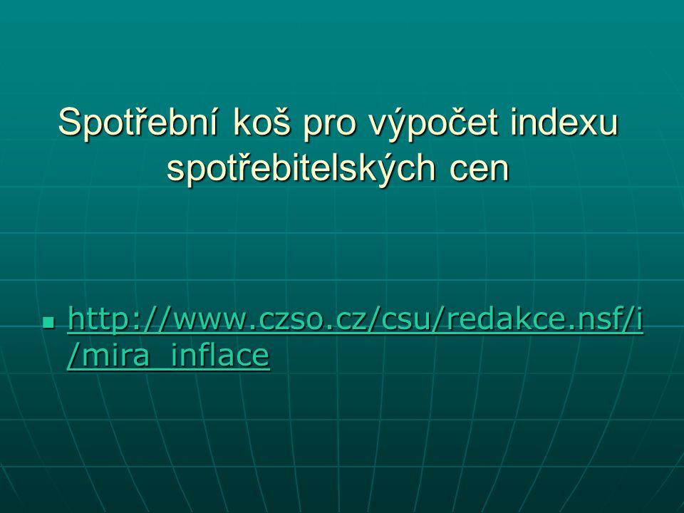 Spotřební koš pro výpočet indexu spotřebitelských cen http://www.czso.cz/csu/redakce.nsf/i /mira_inflace http://www.czso.cz/csu/redakce.nsf/i /mira_inflace http://www.czso.cz/csu/redakce.nsf/i /mira_inflace http://www.czso.cz/csu/redakce.nsf/i /mira_inflace