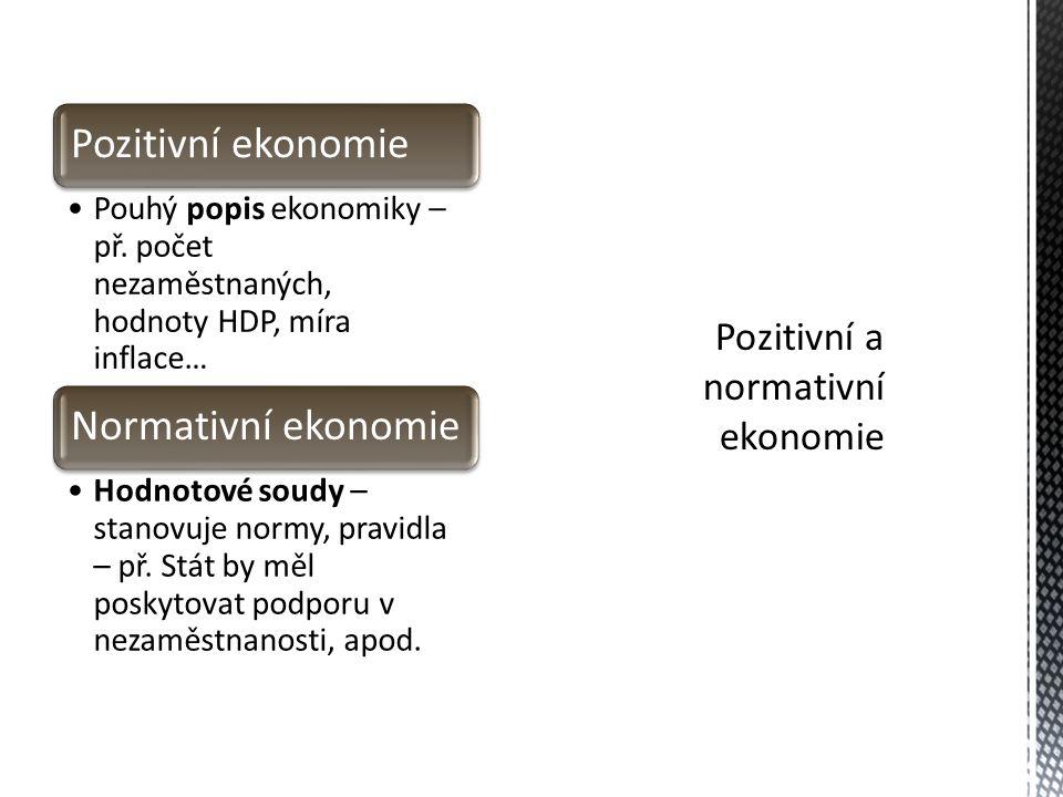 Pozitivní ekonomie Pouhý popis ekonomiky – př.