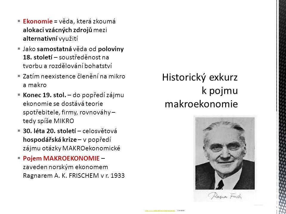  Rozčlenění ekonomie na mikroekonomii a makroekonomii přisuzujeme J.