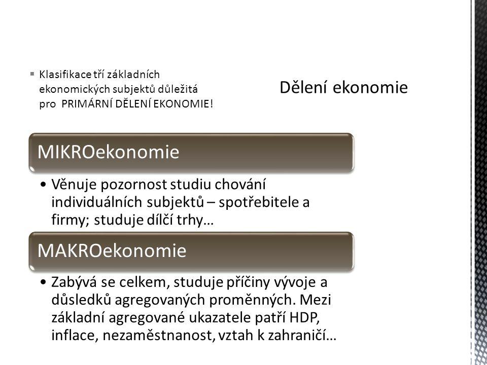  Klasifikace tří základních ekonomických subjektů důležitá pro PRIMÁRNÍ DĚLENÍ EKONOMIE.