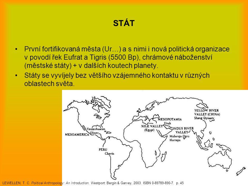 STÁT První fortifikovaná města (Ur…) a s nimi i nová politická organizace v povodí řek Eufrat a Tigris (5500 Bp), chrámové náboženství (městské státy)