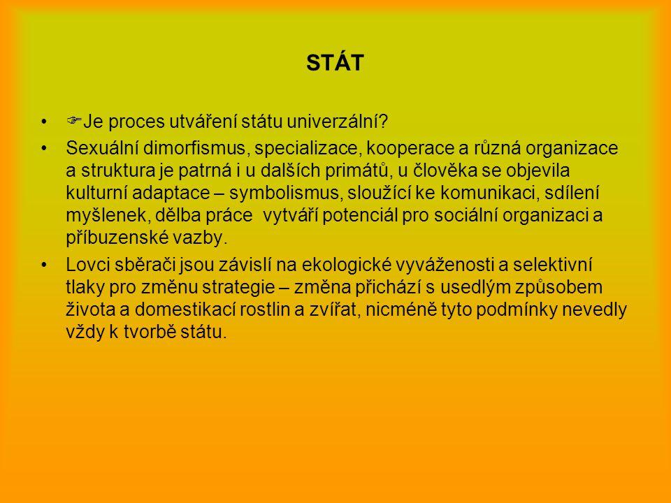 STÁT  Je proces utváření státu univerzální? Sexuální dimorfismus, specializace, kooperace a různá organizace a struktura je patrná i u dalších primát