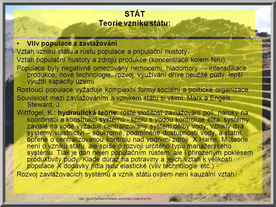 STÁT Teorie vzniku státu: Vliv populace a zavlažování Vztah vzniku státu a růstu populace a populační hustoty. Vztah populační hustoty a zdrojů produk