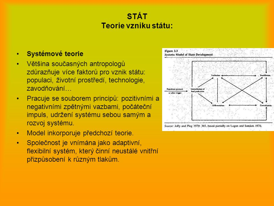 STÁT Teorie vzniku státu: Systémové teorie Většina současných antropologů zdůrazňuje více faktorů pro vznik státu: populaci, životní prostředí, techno