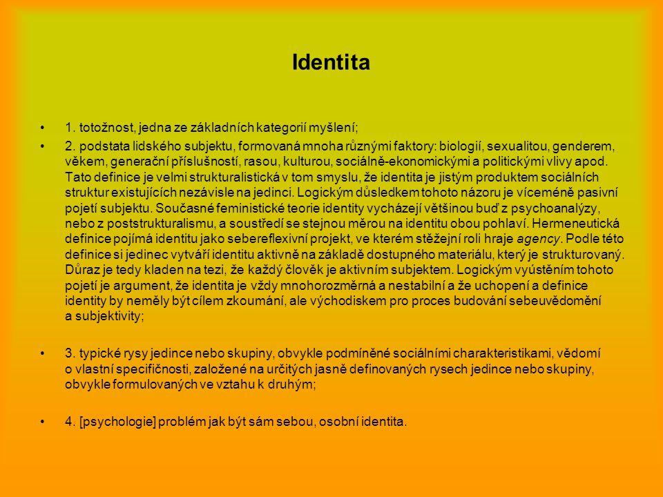 Identita 1. totožnost, jedna ze základních kategorií myšlení; 2. podstata lidského subjektu, formovaná mnoha různými faktory: biologií, sexualitou, ge
