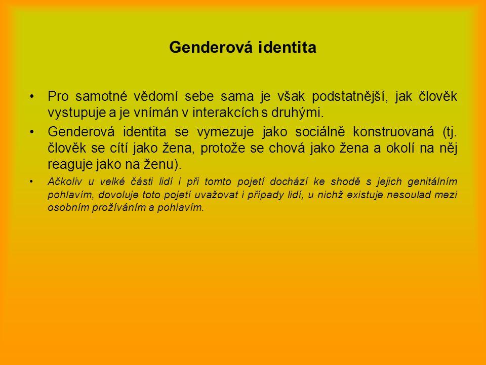 Genderová identita Pro samotné vědomí sebe sama je však podstatnější, jak člověk vystupuje a je vnímán v interakcích s druhými. Genderová identita se