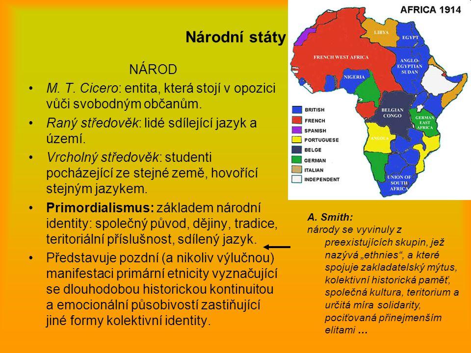 Národní státy NÁROD M. T. Cicero: entita, která stojí v opozici vůči svobodným občanům. Raný středověk: lidé sdílející jazyk a území. Vrcholný středov