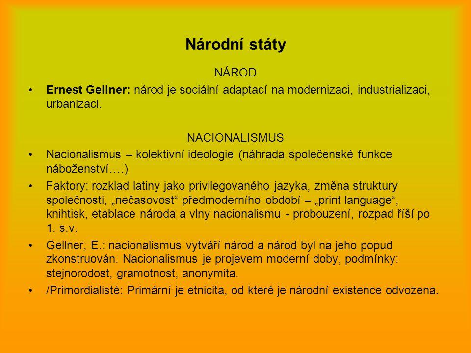 Národní státy NÁROD Ernest Gellner: národ je sociální adaptací na modernizaci, industrializaci, urbanizaci. NACIONALISMUS Nacionalismus – kolektivní i
