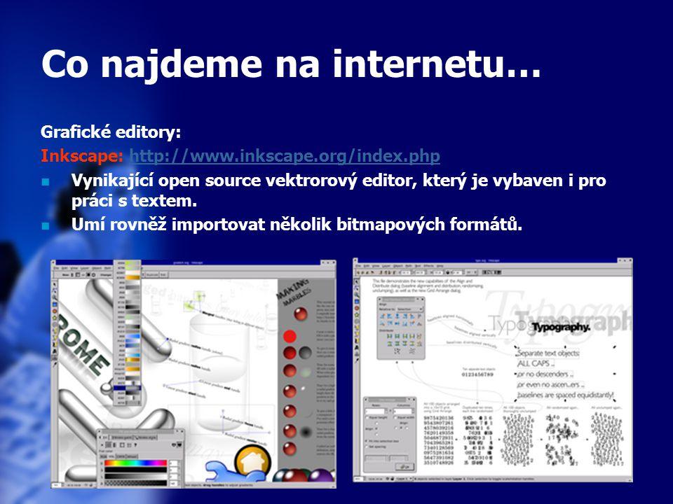 27 Co najdeme na internetu… Grafické editory: Inkscape: http://www.inkscape.org/index.phphttp://www.inkscape.org/index.php Vynikající open source vektrorový editor, který je vybaven i pro práci s textem.