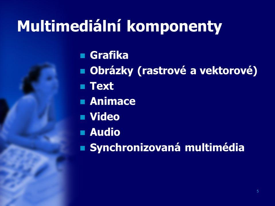 5 Multimediální komponenty Grafika Obrázky (rastrové a vektorové) Text Animace Video Audio Synchronizovaná multimédia