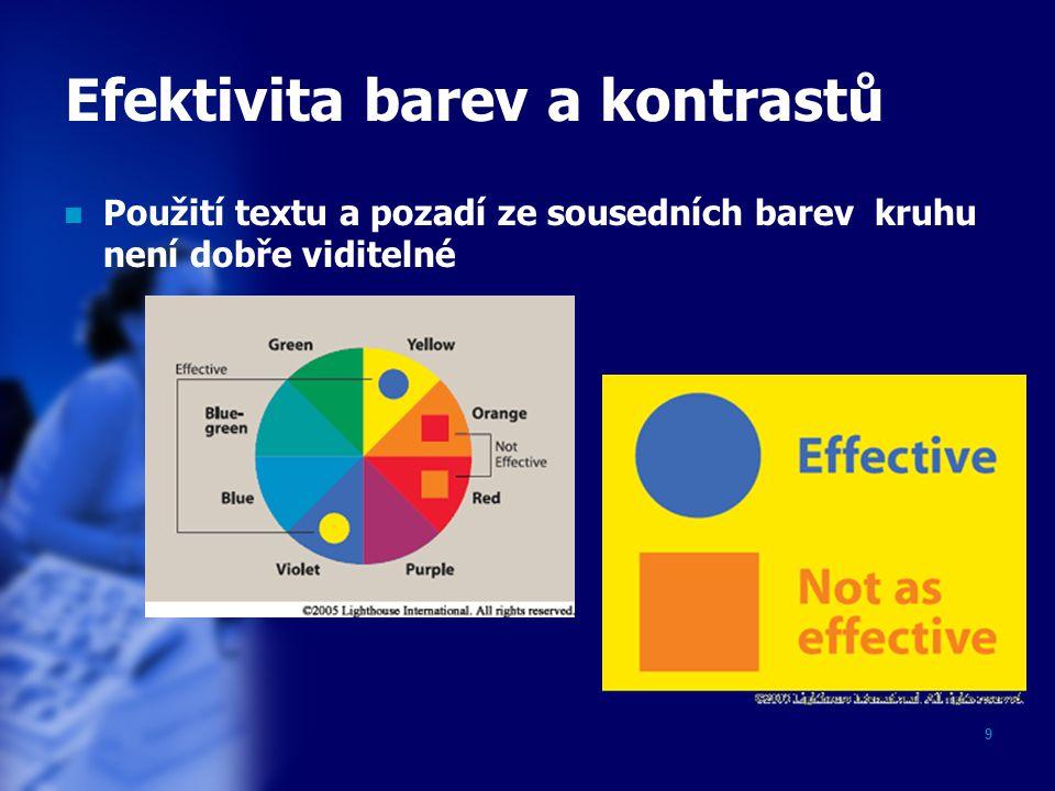 9 Efektivita barev a kontrastů Použití textu a pozadí ze sousedních barev kruhu není dobře viditelné
