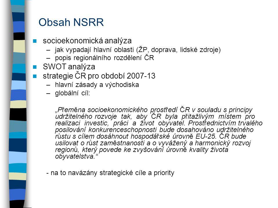 Obsah NSRR socioekonomická analýza –jak vypadají hlavní oblasti (ŽP, doprava, lidské zdroje) –popis regionálního rozdělení ČR SWOT analýza strategie Č
