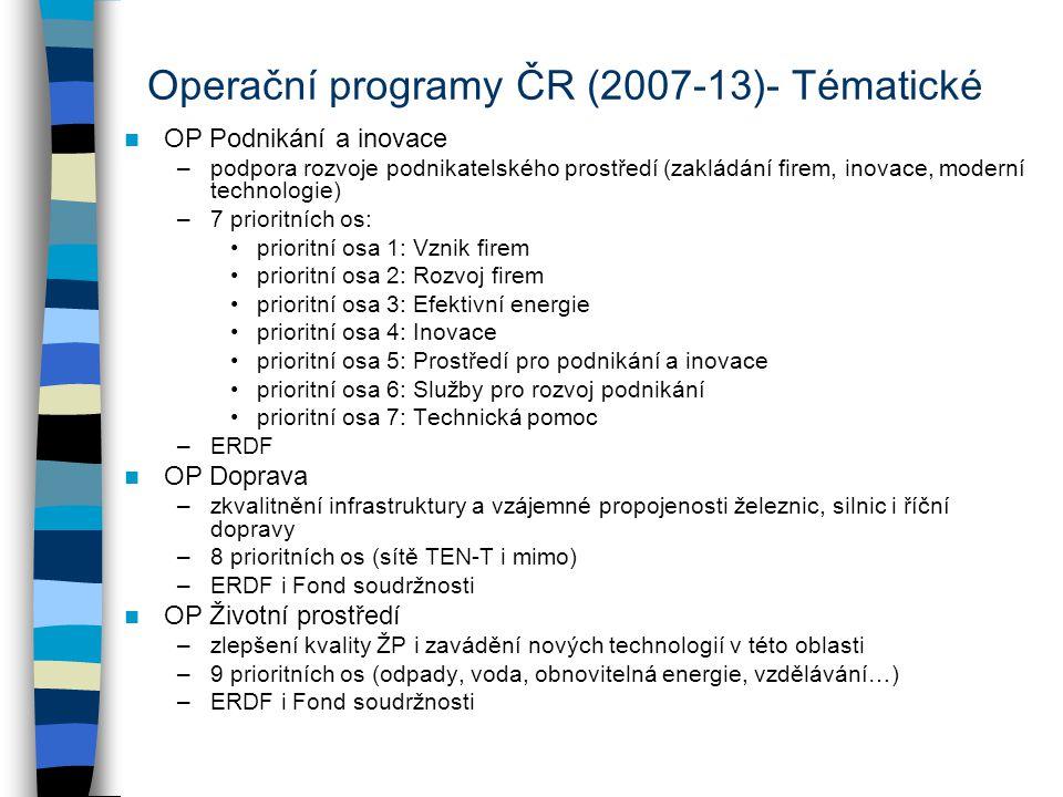Operační programy ČR (2007-13)- Tématické OP Podnikání a inovace –podpora rozvoje podnikatelského prostředí (zakládání firem, inovace, moderní technol