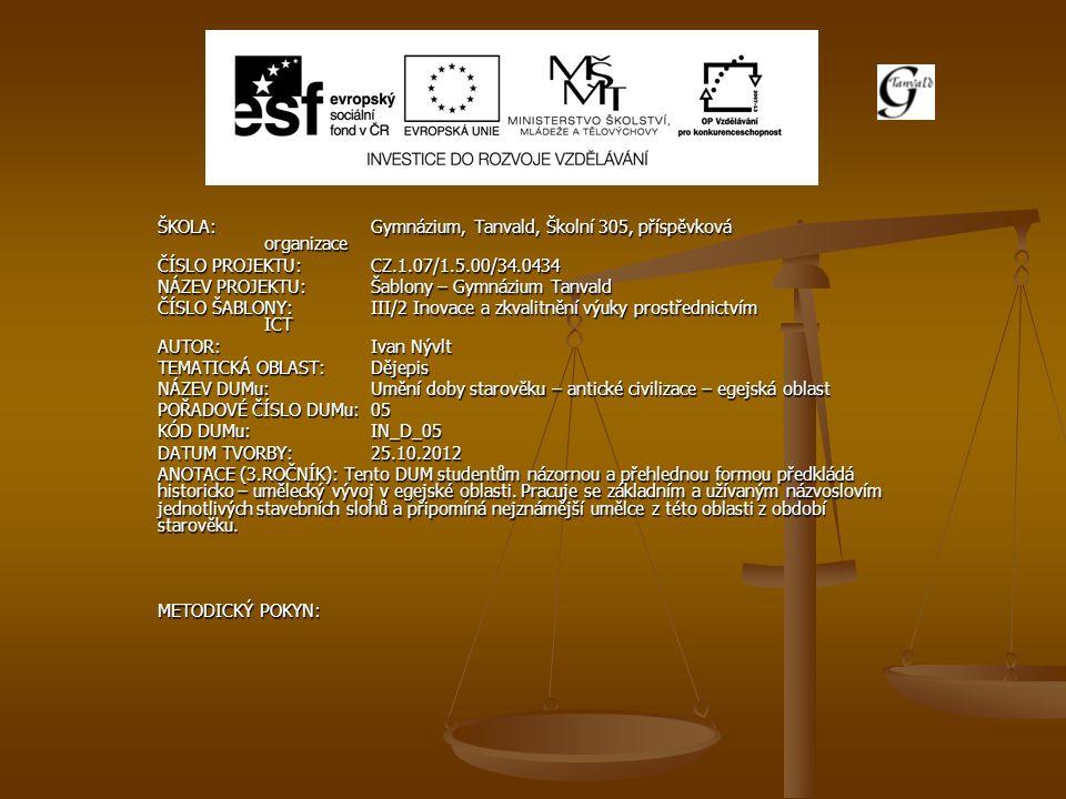 ŠKOLA:Gymnázium, Tanvald, Školní 305, příspěvková organizace ČÍSLO PROJEKTU:CZ.1.07/1.5.00/34.0434 NÁZEV PROJEKTU:Šablony – Gymnázium Tanvald ČÍSLO ŠA