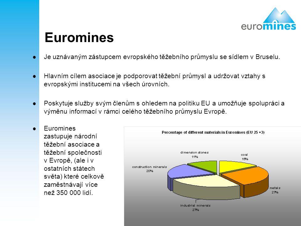 2 Euromines Je uznávaným zástupcem evropského těžebního průmyslu se sídlem v Bruselu. Hlavním cílem asociace je podporovat těžební průmysl a udržovat