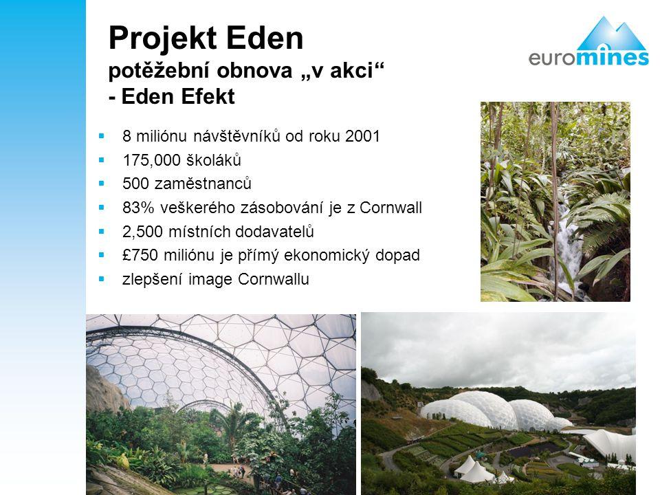"""27 Projekt Eden potěžební obnova """"v akci"""" - Eden Efekt  8 miliónu návštěvníků od roku 2001  175,000 školáků  500 zaměstnanců  83% veškerého zásobo"""