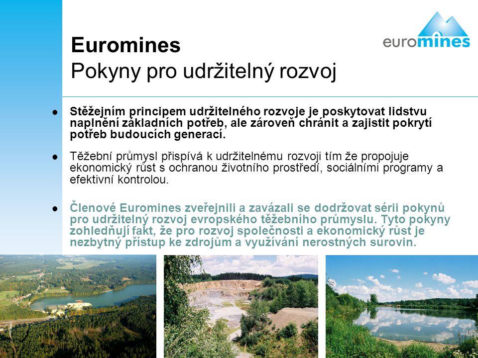 3 Euromines Pokyny pro udržitelný rozvoj Stěžejním principem udržitelného rozvoje je poskytovat lidstvu naplnění základních potřeb, ale zároveň chráni