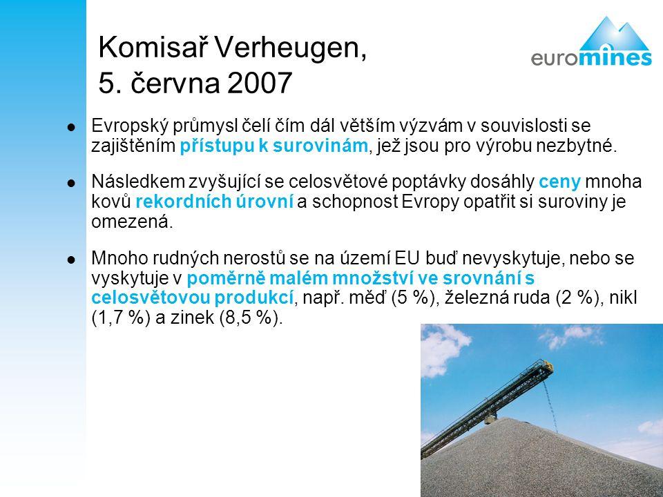4 Komisař Verheugen, 5. června 2007 Evropský průmysl čelí čím dál větším výzvám v souvislosti se zajištěním přístupu k surovinám, jež jsou pro výrobu