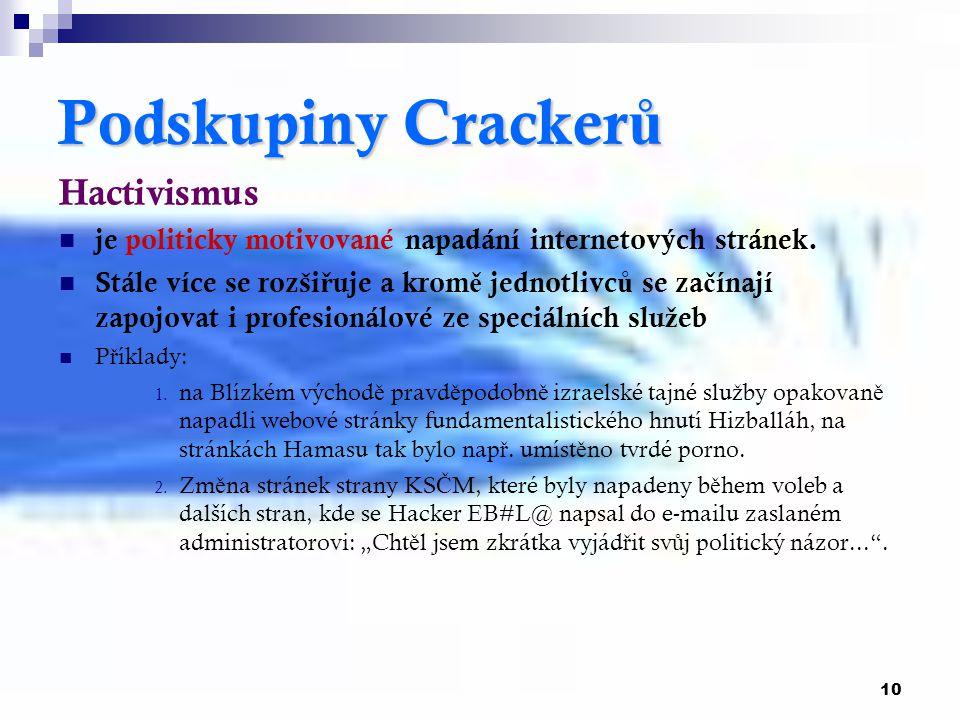 10 PodskupinyCracker ů Podskupiny Cracker ů Hactivismus je politicky motivované napadání internetových stránek. Stále více se rozši ř uje a krom ě jed