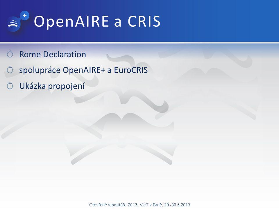 OpenAIRE a CRIS Rome Declaration spolupráce OpenAIRE+ a EuroCRIS Ukázka propojení Otevřené repozitáře 2013, VUT v Brně, 29.-30.5.2013