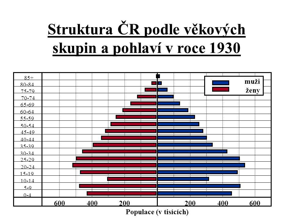 Struktura ČR podle věkových skupin a pohlaví v roce 1930 85+ 80-84 75-79 70-74 65-69 55-59 50-54 45-49 40-44 35-39 30-34 25-29 20-24 15-19 10-14 5-9 0-4 200400600200400600 Populace (v tisících) 60-64 muži ženy