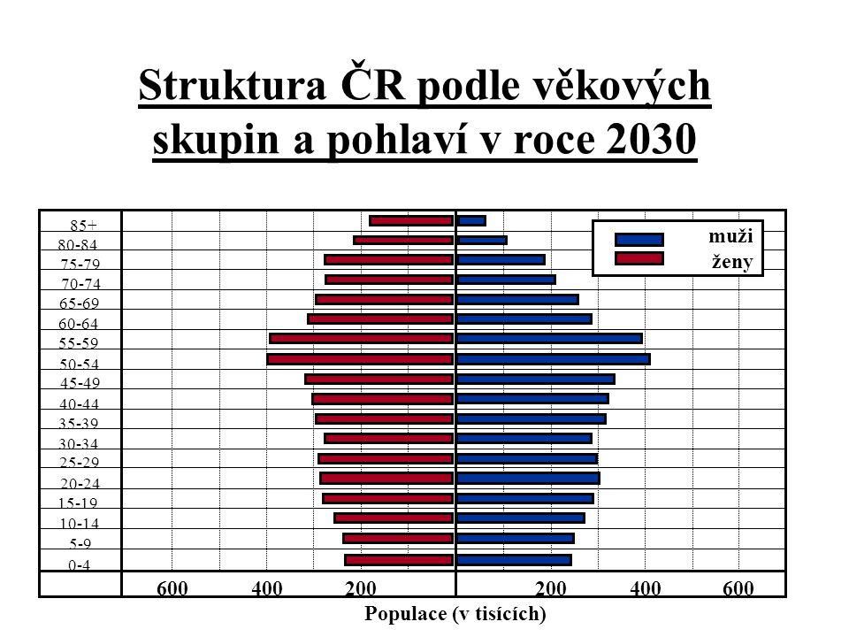 Struktura ČR podle věkových skupin a pohlaví v roce 2030 85+ 80-84 75-79 70-74 65-69 55-59 50-54 45-49 40-44 35-39 30-34 25-29 20-24 15-19 10-14 5-9 0-4 200400600200400600 Populace (v tisících) 60-64 muži ženy