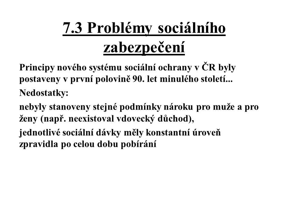 7.3 Problémy sociálního zabezpečení Principy nového systému sociální ochrany v ČR byly postaveny v první polovině 90.