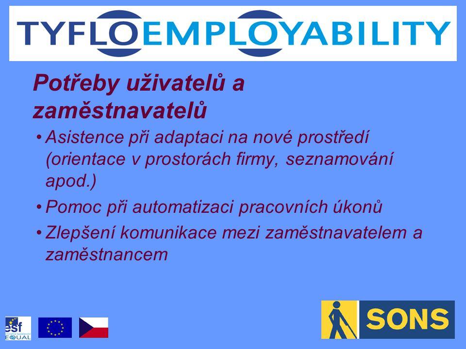 Asistence při adaptaci na nové prostředí (orientace v prostorách firmy, seznamování apod.) Pomoc při automatizaci pracovních úkonů Zlepšení komunikace mezi zaměstnavatelem a zaměstnancem Potřeby uživatelů a zaměstnavatelů