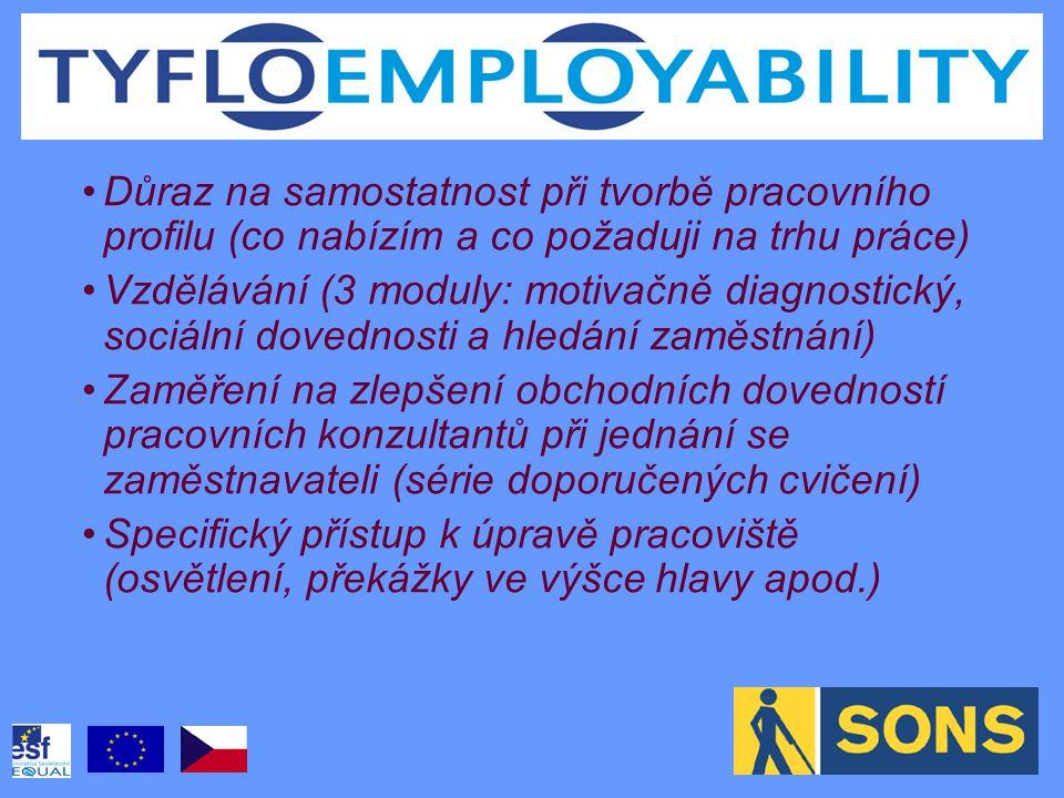 Důraz na samostatnost při tvorbě pracovního profilu (co nabízím a co požaduji na trhu práce) Vzdělávání (3 moduly: motivačně diagnostický, sociální dovednosti a hledání zaměstnání) Zaměření na zlepšení obchodních dovedností pracovních konzultantů při jednání se zaměstnavateli (série doporučených cvičení) Specifický přístup k úpravě pracoviště (osvětlení, překážky ve výšce hlavy apod.)