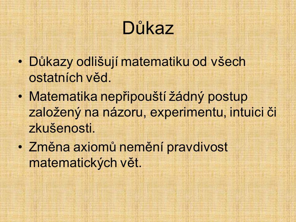 Důkazy Důkazy jsou matematice tím, čím je hláskování (či dokonce písmo) poezii.