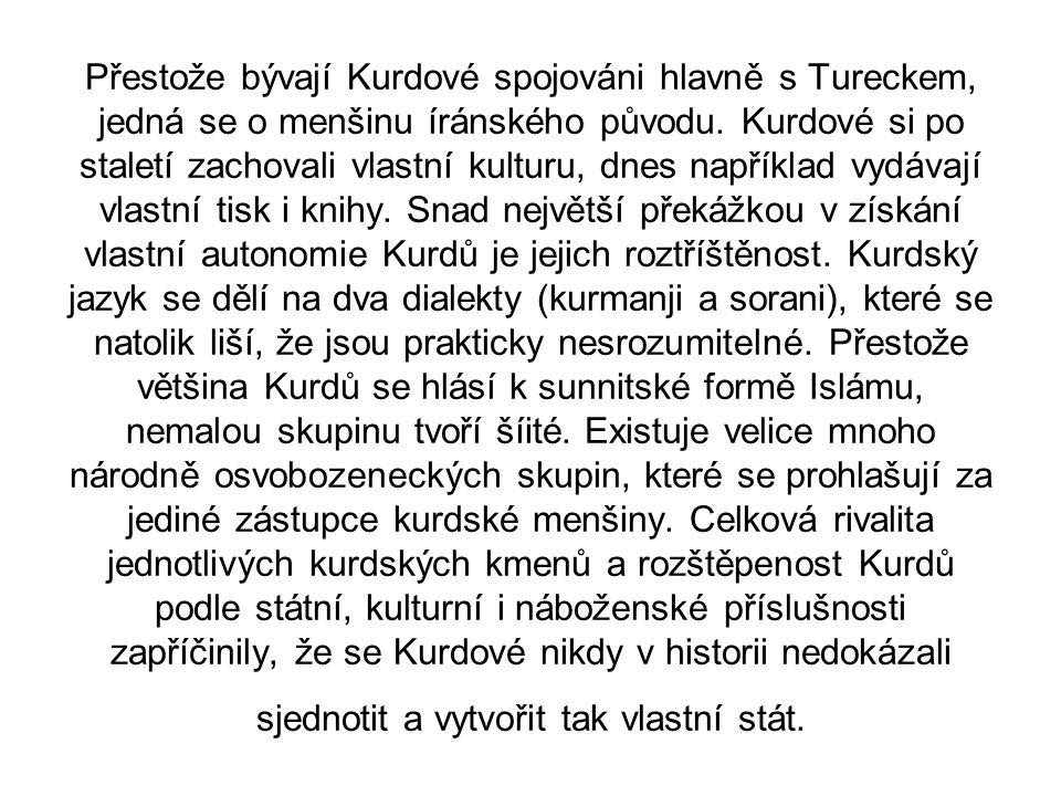 Přestože bývají Kurdové spojováni hlavně s Tureckem, jedná se o menšinu íránského původu. Kurdové si po staletí zachovali vlastní kulturu, dnes napřík