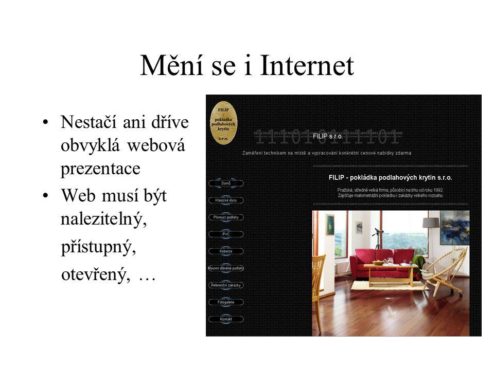 Mění se i Internet Nestačí ani dříve obvyklá webová prezentace Web musí být nalezitelný, přístupný, otevřený, …