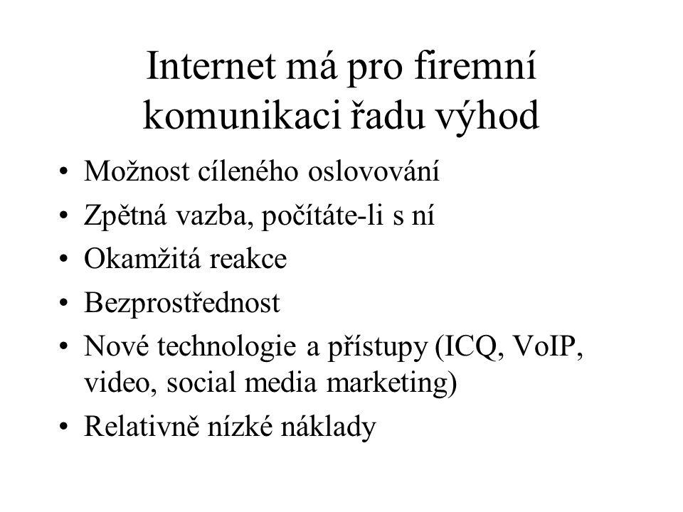 Internet má pro firemní komunikaci řadu výhod Možnost cíleného oslovování Zpětná vazba, počítáte-li s ní Okamžitá reakce Bezprostřednost Nové technologie a přístupy (ICQ, VoIP, video, social media marketing) Relativně nízké náklady