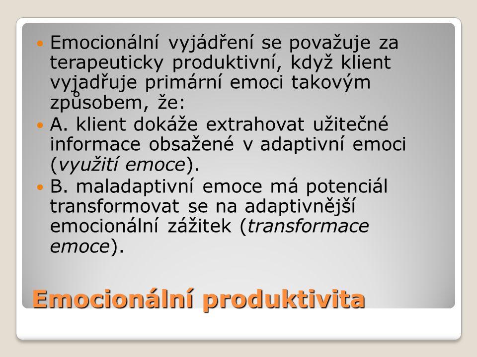 Emocionální produktivita Emocionální vyjádření se považuje za terapeuticky produktivní, když klient vyjadřuje primární emoci takovým způsobem, že: A.