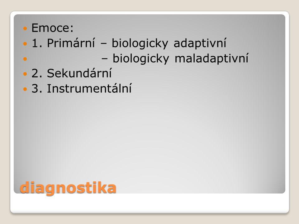 diagnostika Emoce: 1. Primární – biologicky adaptivní – biologicky maladaptivní 2. Sekundární 3. Instrumentální