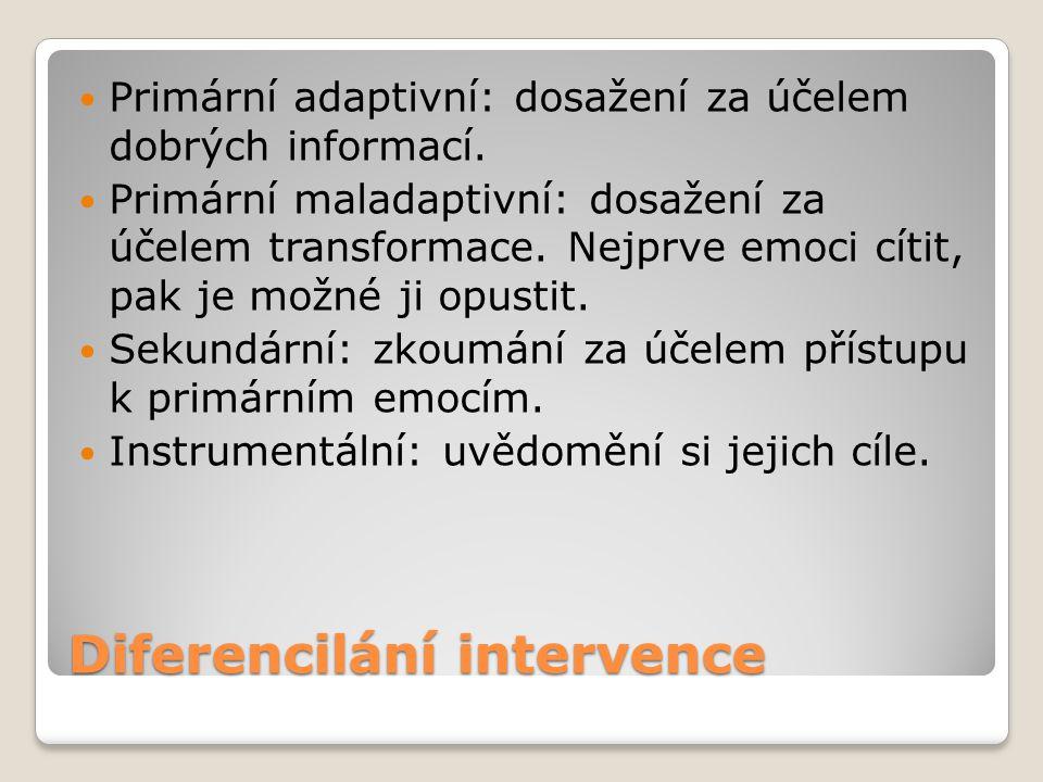Diferencilání intervence Primární adaptivní: dosažení za účelem dobrých informací. Primární maladaptivní: dosažení za účelem transformace. Nejprve emo