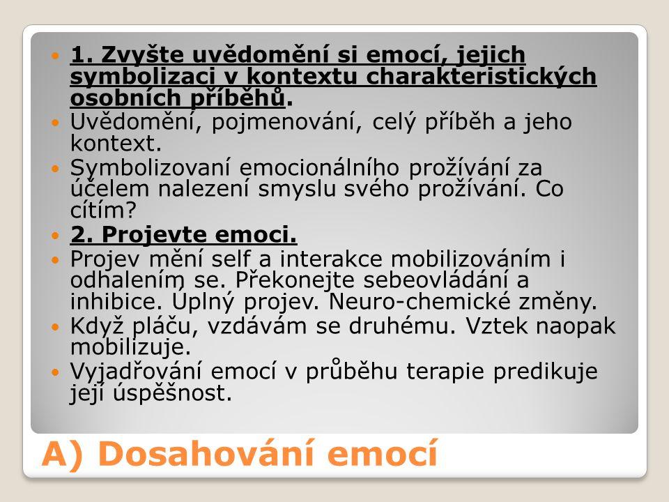 A) Dosahování emocí 1. Zvyšte uvědomění si emocí, jejich symbolizaci v kontextu charakteristických osobních příběhů. Uvědomění, pojmenování, celý příb
