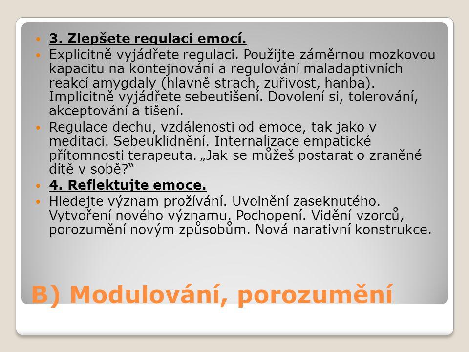 B) Modulování, porozumění 3. Zlepšete regulaci emocí. Explicitně vyjádřete regulaci. Použijte záměrnou mozkovou kapacitu na kontejnování a regulování