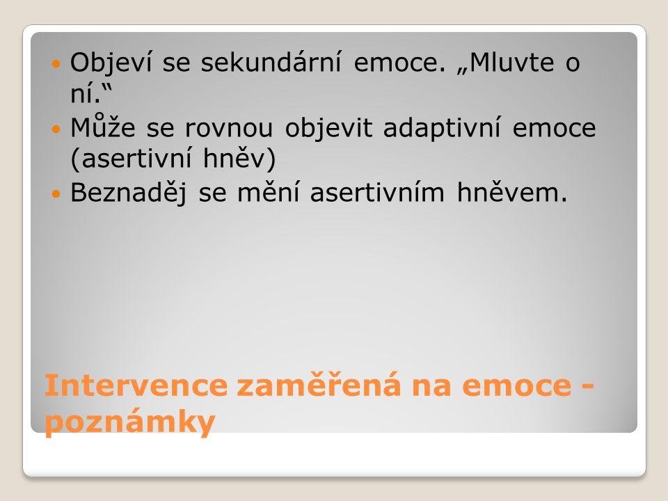 """Intervence zaměřená na emoce - poznámky Objeví se sekundární emoce. """"Mluvte o ní."""" Může se rovnou objevit adaptivní emoce (asertivní hněv) Beznaděj se"""