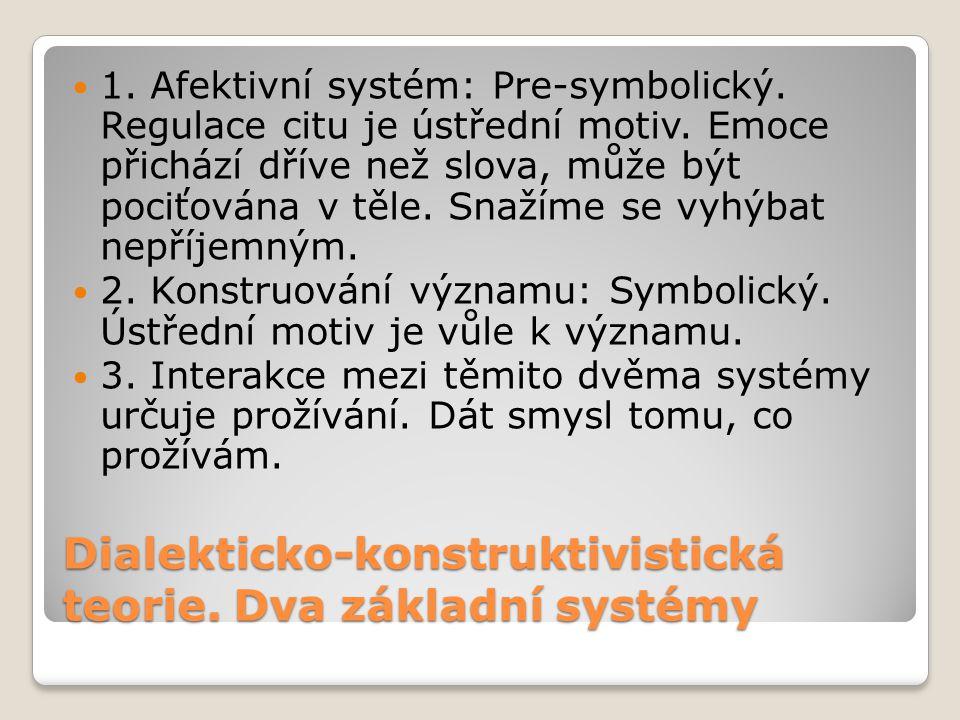 Dialekticko-konstruktivistická teorie. Dva základní systémy 1. Afektivní systém: Pre-symbolický. Regulace citu je ústřední motiv. Emoce přichází dříve