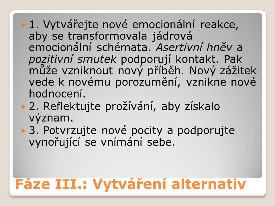 Fáze III.: Vytváření alternativ 1. Vytvářejte nové emocionální reakce, aby se transformovala jádrová emocionální schémata. Asertivní hněv a pozitivní