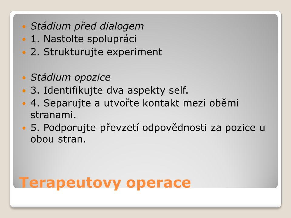 Terapeutovy operace Stádium před dialogem 1. Nastolte spolupráci 2. Strukturujte experiment Stádium opozice 3. Identifikujte dva aspekty self. 4. Sepa