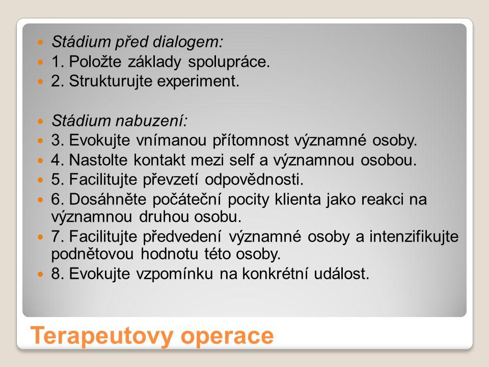 Terapeutovy operace Stádium před dialogem: 1. Položte základy spolupráce. 2. Strukturujte experiment. Stádium nabuzení: 3. Evokujte vnímanou přítomnos