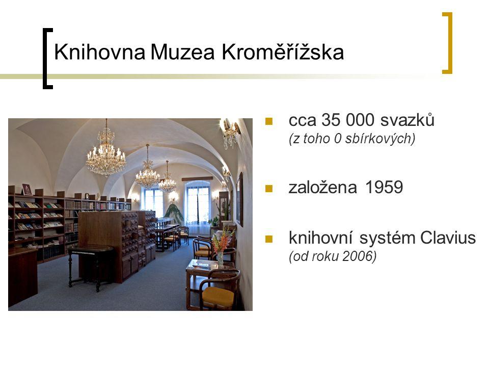 Knihovna Slováckého muzea v Uherském Hradišti cca 20 600 svazků (z toho 0 sbírkových) založena 1914 knihovní systém Clavius (od roku 2005)