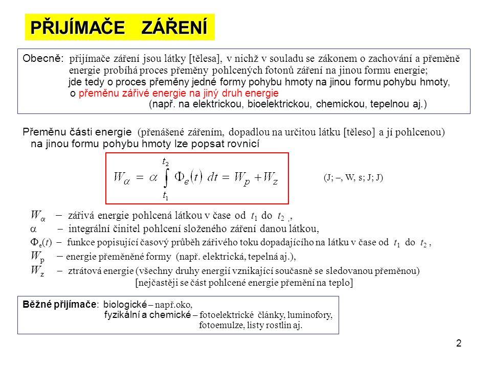 2 PŘIJÍMAČE ZÁŘENÍ Obecně: přijímače záření jsou látky [tělesa], v nichž v souladu se zákonem o zachování a přeměně energie probíhá proces přeměny poh