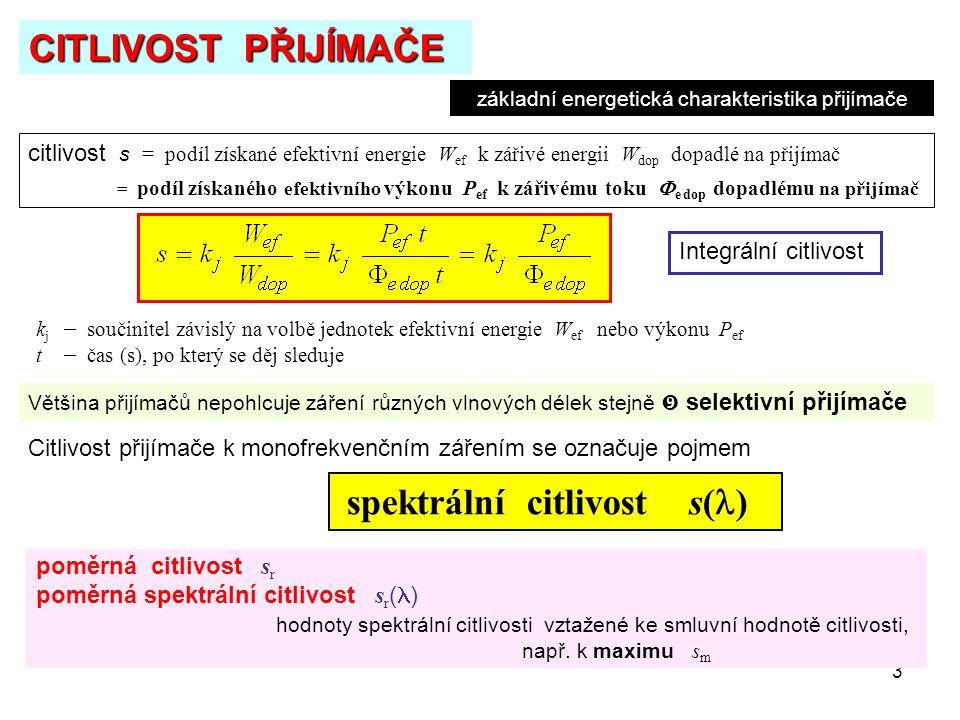 3 CITLIVOST PŘIJÍMAČE citlivost s = podíl získané efektivní energie W ef k zářivé energii W dop dopadlé na přijímač = podíl získaného efektivního výko