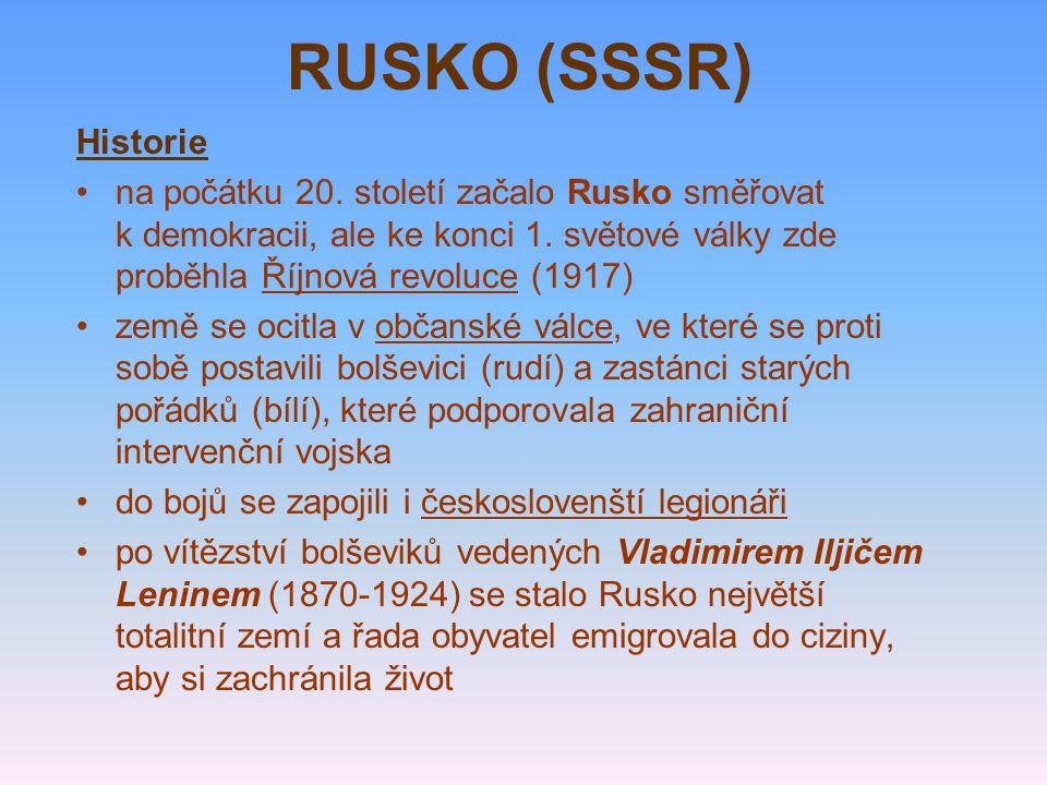 za vlády Josifa Vissarionoviče Stalina (1878-1853) se poměry v nově ustaveném Svazu sovětských socialistických republik (1922), který tvořilo 15 států (Ukrajina, Bělorusko, pobaltské republiky...), ještě zhoršily charakterizovaly je stranické čistky, zinscenované politické procesy, pronásledování lidí za jejich názory, ničení církevních památek, zavírání oponentů do pracovních táborů (GULAG), vraždění, bezpráví, vzrůstající moc tajné policie (Čeka, NKVD, KGB), hladomory a všudypřítomný strach a teror zemědělství rozvrátila kolektivizace obrovské prostředky se investovaly do budování těžkého průmyslu oficiální ideologií se stal ateismus a marxismus- -leninismus