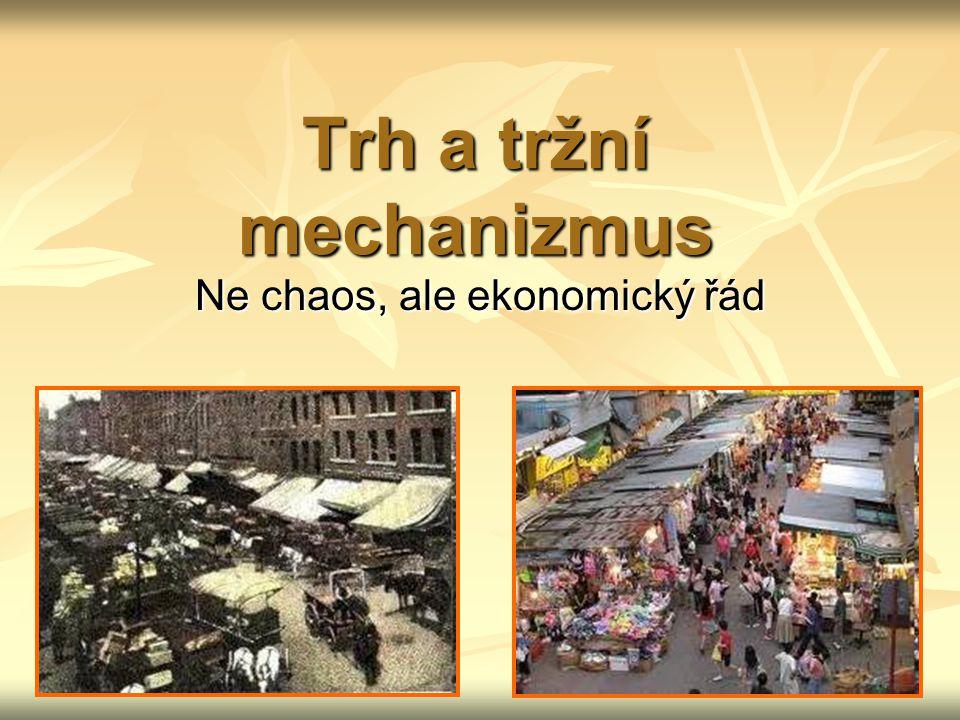 Kontrolní otázky a úkoly Vymezte obsah pojmů trh a tržní mechanismus.