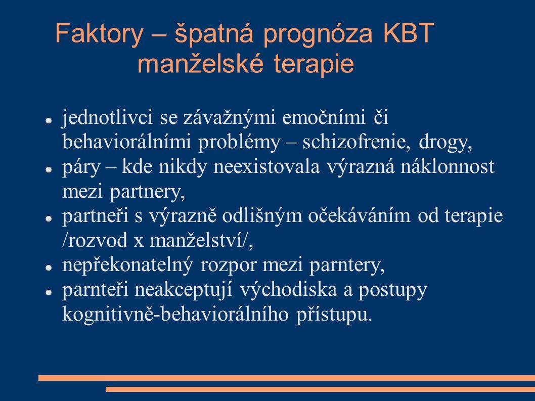 Faktory – špatná prognóza KBT manželské terapie jednotlivci se závažnými emočními či behaviorálními problémy – schizofrenie, drogy, páry – kde nikdy n