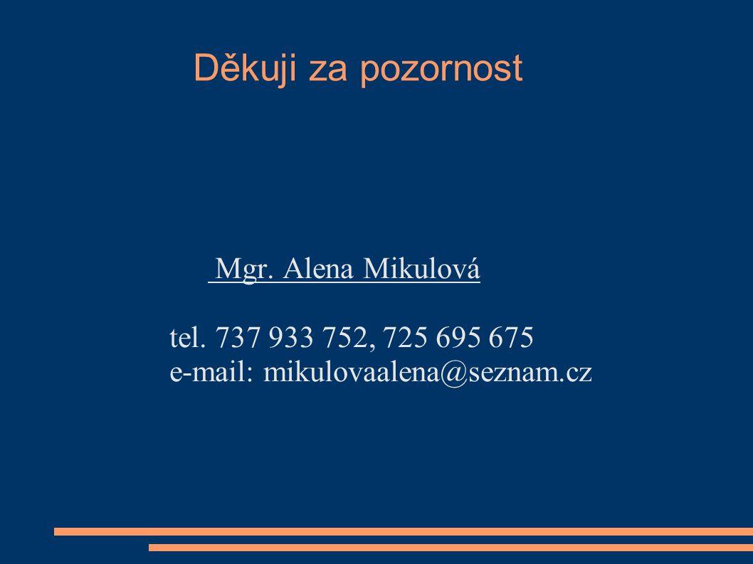 Děkuji za pozornost Mgr. Alena Mikulová tel. 737 933 752, 725 695 675 e-mail: mikulovaalena@seznam.cz